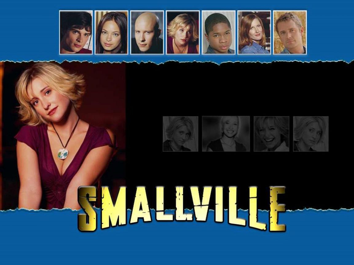 Chloe Sullivan With Smallville Characters Wallpaper 1152x864