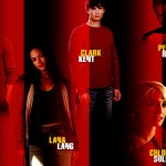 Smallville Cast Standing Red Background Wallpaper