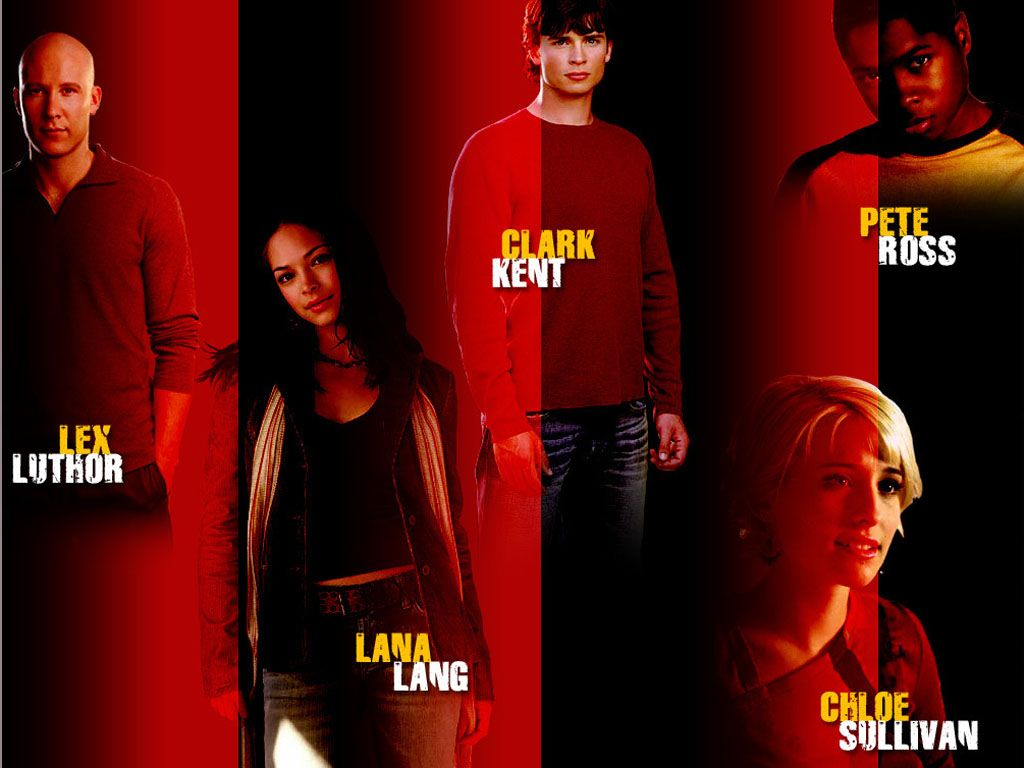 Smallville Cast Standing Red Background Wallpaper 1024x768